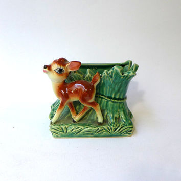 Vintage mid century collectible bambi deer porcelain vase