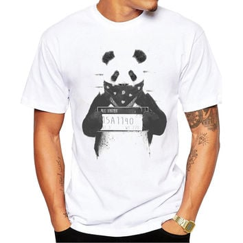 Bad Panda Police Dept Mugshot Men's Short Sleeve Casual White T-Shirt