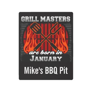 Grill Masters Are Born In January Personalized Metal Photo Print