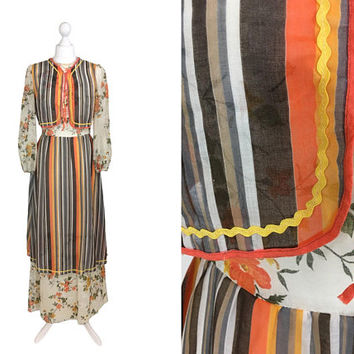 Kati At Laura Phillips Dress | Vintage 70's Maxi Dress | Gauze Dress | 1970's Hippy Dress