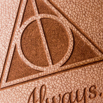 Deathly Hallows Flask - Always, inspired by Harry Potter - 6oz Engraved Leather Hip Flask