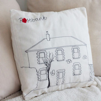 Custom House Pillow/Throw Pillow Cover/Embroidered Pillow/Personalised Cushion/Decorative Pillow/Housewares/Home Decor