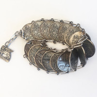 60s Jewelry Silver Coin Bracelet Vintage 60s Bracelet Italian Bracelet 60s Hippie Bracelet Bohemian Jewelry Boho Jewelry Souvenir Bracelet