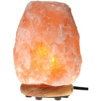 WBM Himalayan Glow Hand Carved Natural Crystal Himalayan Salt Lamp With Genuine Neem Wood Base, Bulb And Dimmer Control.8 to 9 Inch, 8 to 11 lbs.
