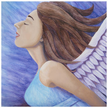 Air Goddess Flying  - Canvas Mini of Angel Acrylic Paint and Watercolor Pencil Fine Art