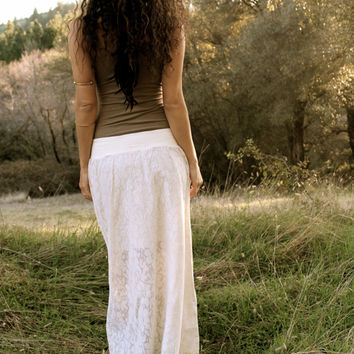 SALE Lace Maxi Skirt - Gypsy Boho Skirt - Lined with Organic Cotton
