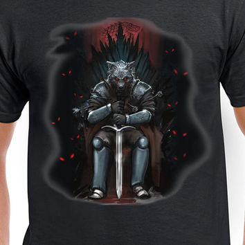 Game of Thrones Inspired Stark on Throne T-Shirt The North Remembers Winterfell House Stark Jon Snow