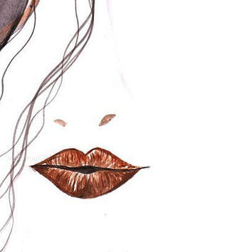 African Woman, Brown Makeup, Watercolor painting, print, fashion, beauty, wall decal, poster decor, decals art, minimalist, portrait, lips
