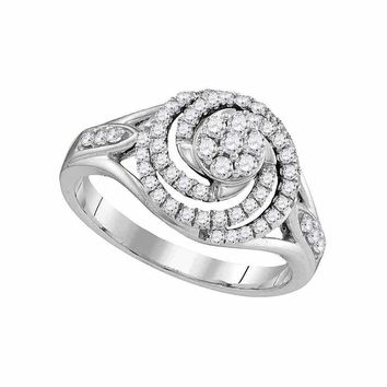 10kt White Gold Women's Round Diamond Flower Cluster Swirl Ring 1-2 Cttw - FREE Shipping (USA/CAN)