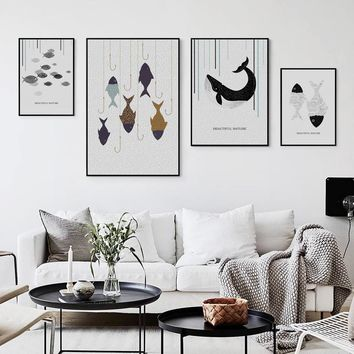 Minimalist Abstract Point Line Fish Whale Canvas Painting Poster And Print Art Picture Wall Parlor Lounge Home Decor Mural