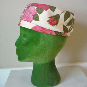 Vintage 60s Hat / 1960s Hat / Mod Floral Pillbox Hat / Cottage Chic