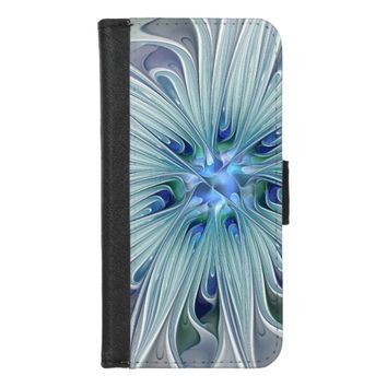 Floral Beauty Abstract Modern Blue Pastel Flower iPhone 8/7 Wallet Case