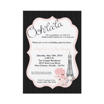 5x7 Pink Poodle in Paris Birthday Party Invitation from Zazzle.com