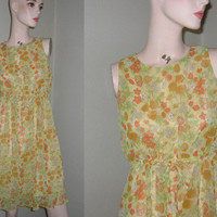 Retro 60s Yellow Pale Shift Sleeveless Sundress Flower Dress