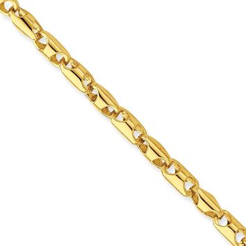 14k Yellow Gold Men Fancy Barrel Link Chain Bracelet - Fine Jewelry Gift