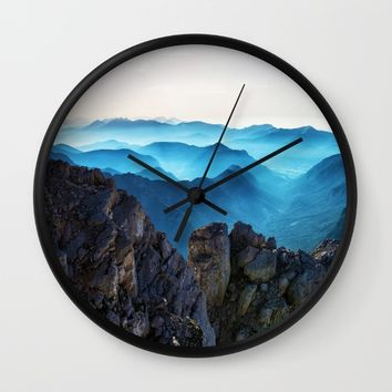Mountains Breathe Too Wall Clock by Mixed Imagery