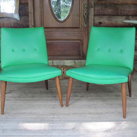 Two Bright Sea Green Danish Modern Chairs by sherbieherbie on Etsy