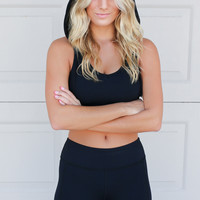 Black Rise And Shine Hoodie Cropped Top