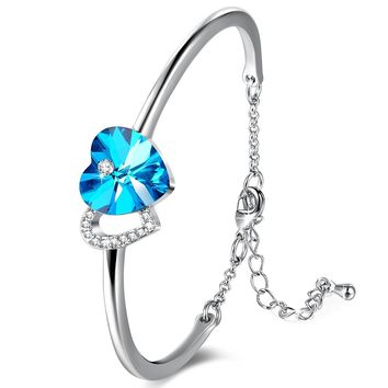 "[Valentines Day Gift]""Love Story""Heart Link Bangle Bracelet for Birthday Anniversary Wedding Gifts,Blue Crystal from Swarovski"
