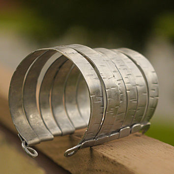 Silver Cage Bracelet, Illusion Stacked Wrist Cuff, Contemporary, Trendy Aluminum Wide Band Cuff, Unisex
