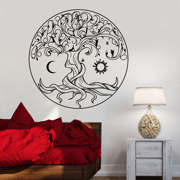 Vinyl Wall Decal Celtic Tree Of Life Symbol Nature Fairies Sun Moon Stickers (1359ig)