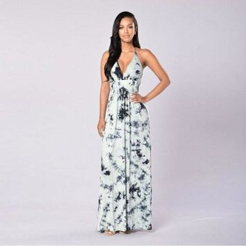 Pullovers Sexy Cotton Empire Waist Halter Halter Neck Open Back Long Printing Dresses