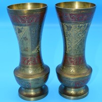 India Brass Enamel Vases Vintage Indian Engraved Pair of Vases Bohemian Decor Boho Chic Etched Brass Decor Gift for Her Wedding Decor Gift