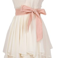 Ruffled Edges Chiffon Designer Dress in Ivory/Pink - WHAT'S NEW