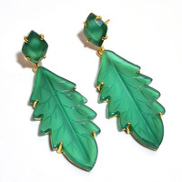 Christmas gift special jewelry 925 sterling silver hand carved green maple leaf onyx gemstone yellow gold plated dangle push back earrings
