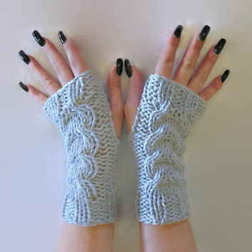 Fingerless Gloves, Knitted Cable Gloves, Chunky Arm Warmers, Fingerless Mittens, School Gloves Grey Winter Wool Gloves Armwarmers, Australia