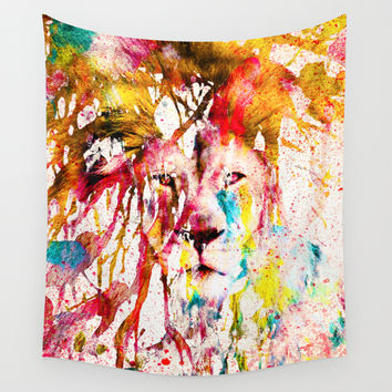 Wild Lion Sketch Abstract Watercolor Splatters Wall Tapestry by Girly Road