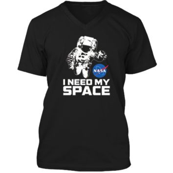NASA Logo - I Need My Space Shirt with Astronaut Mens Printed V-Neck T