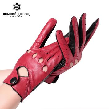 Fashion leather gloves Punk style gloves female driving gloves Red stitching hollow design