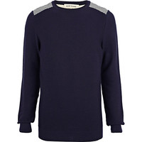River Island MensNavy quilted back sweater