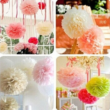 5PC Tissue Paper Flower Wedding Party Home Outdoor Decor 20CM 25CM 30CM [7983580615]