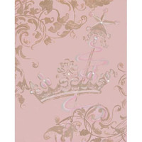 Taupe Lavish Crown Hand Painted Stretched Canvas Art