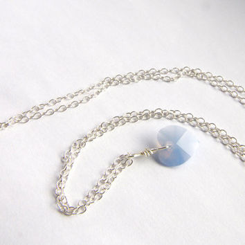 Air Blue Opal Necklace, Silver Jewellery, Swarovski Heart Pendant, UK