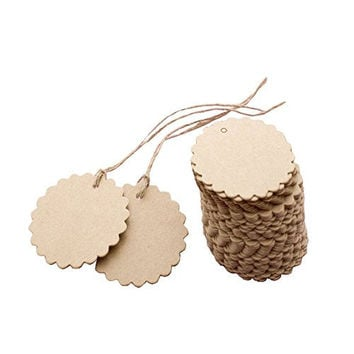 Seekingtag 50pcs Scalloped Wedding Kraft Paper Tag Lolly Bag Bonbonniere Favor Gift Tag with Jute Twines