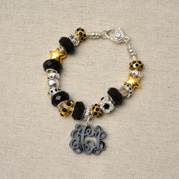 Vine Interlocking Monogram Charm on Pandora Style Bracelet