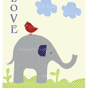 Elephant Bird Love, Brooks, Nursery Art Print, Custom Baby Nursery Wall Decor - 8.5 x 11 - Pottery Barn Kids
