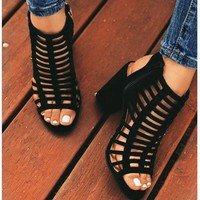 Hot Selling Women's Sandals Summer New Open-toed Hollow High-heeled Shoes Big Size