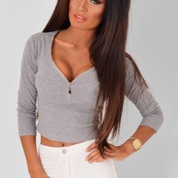 Danatay Grey Stretch Cropped Top | Pink Boutique
