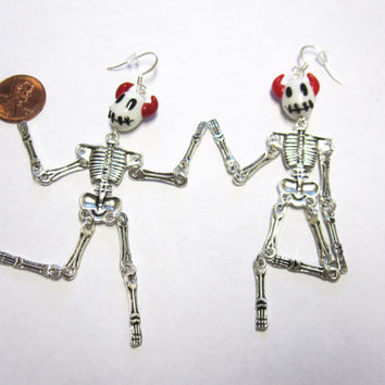 Dancing Devil Skeleton Earrings Day of the Dead Articulated Stitch Jewelry