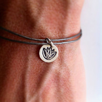 Metallic Grey Leather Wrap Bracelet, Silver Lotus Flower, Yoga