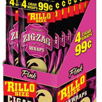 Zig Zag 'Rillo Size Wraps - Pink (Box of 60)