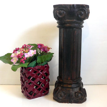 Vintage Shabby Chic Carved Wood Pillar Plant Stand or Pedestal - Short Roman Column in Wood - Cottage Chic Column - Wood Home Decor