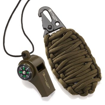 X-Plore Gear Paracord Grenade Survival Kit (15 Tools) | Portable Emergency Preparedness Kit for Outdoor Adventures, Natural Disasters, Earthquakes | 550 paracord, Knife, Whistle, Compass (Green)