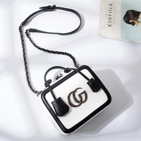 """Gucci"" Women Fashion Multicolor Letter Metal Chain Single Shoulder Messenger Bag Handbag"