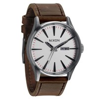Men's Nixon The Sentry Leather Watch in Silver/Brown