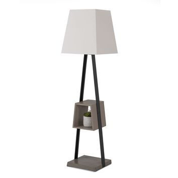Modrest Cortez Modern Black Metal & Faux Concrete Floor Lamp